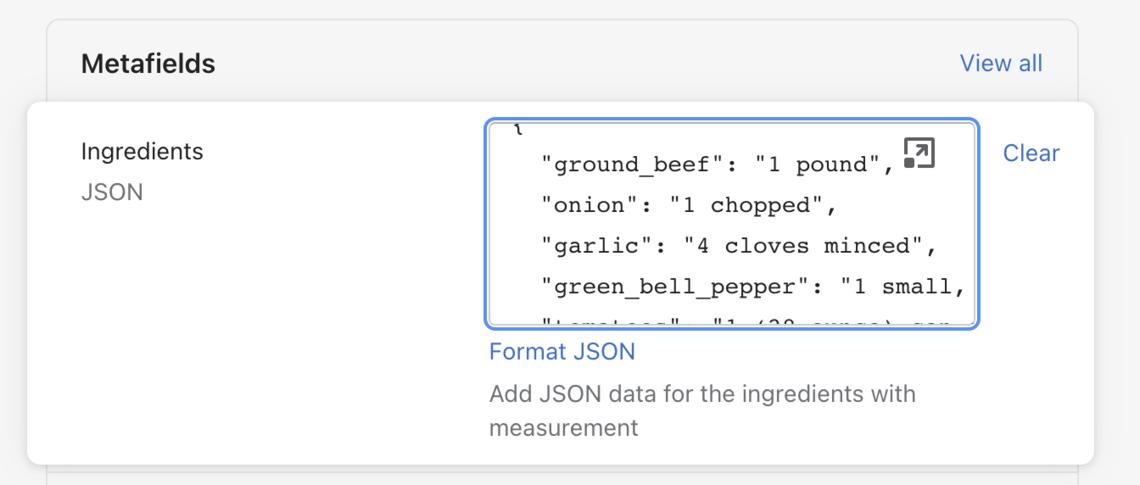 shopify metafields json input field