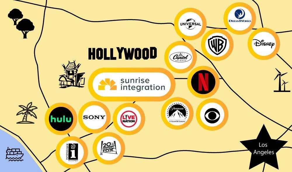 Los Angeles entertainment companies around sunrise integration