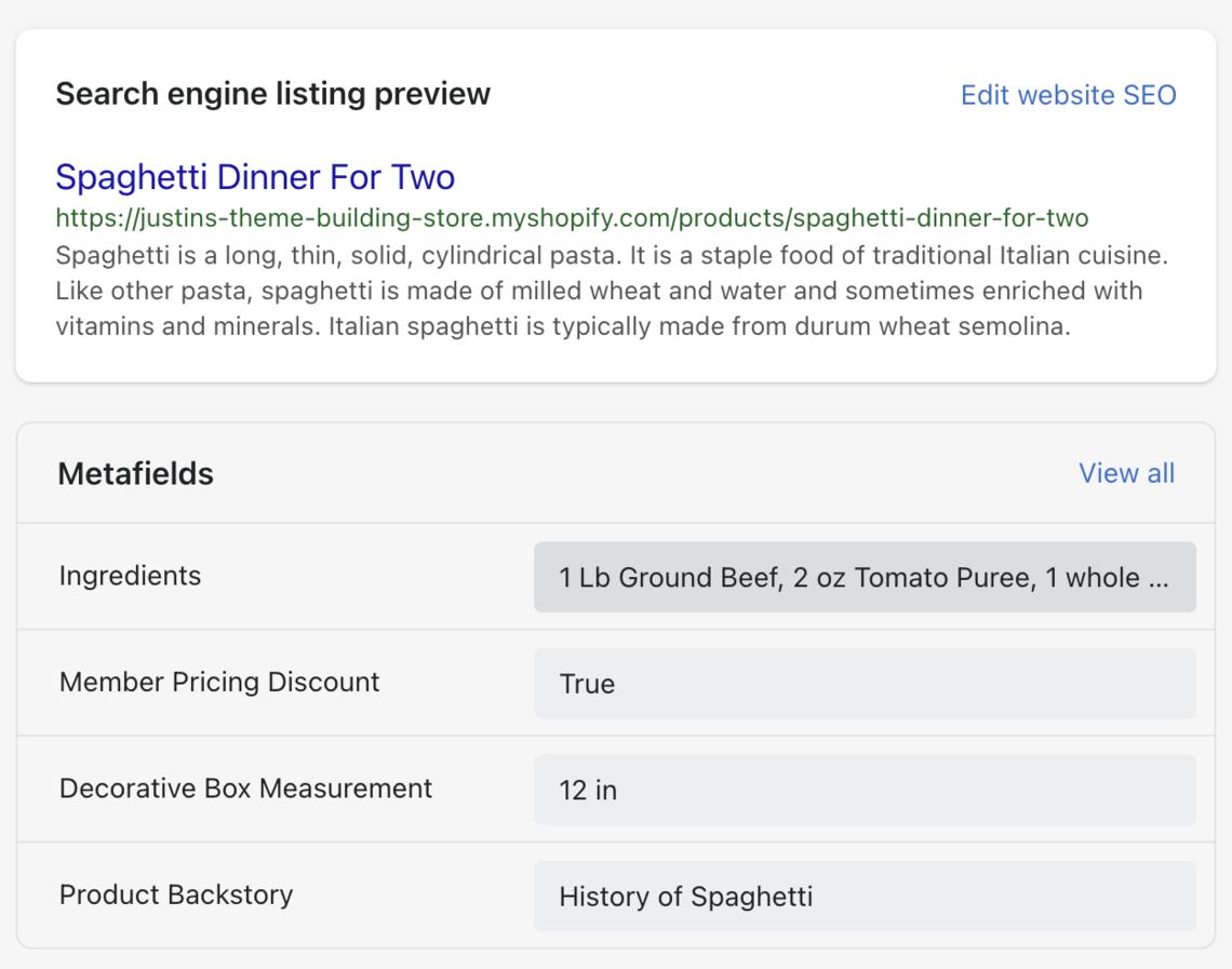 shopify metafields spaghetti ingredients